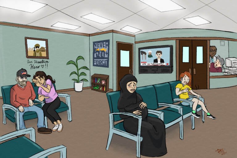 Research has shown a link between exposure to racism and birth outcomes. The terror attacks offered a unique window on the effects of anti-Arab racism. (Illustration by Andre Reed)