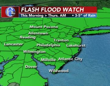 A weather map shows a Flash Flood Watch in effect for the Philly region