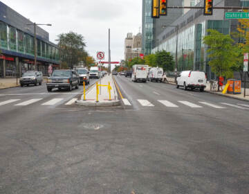 New medians shown at the intersection of N. Broad and Oxford streets. (Tom MacDonald / WHYY)