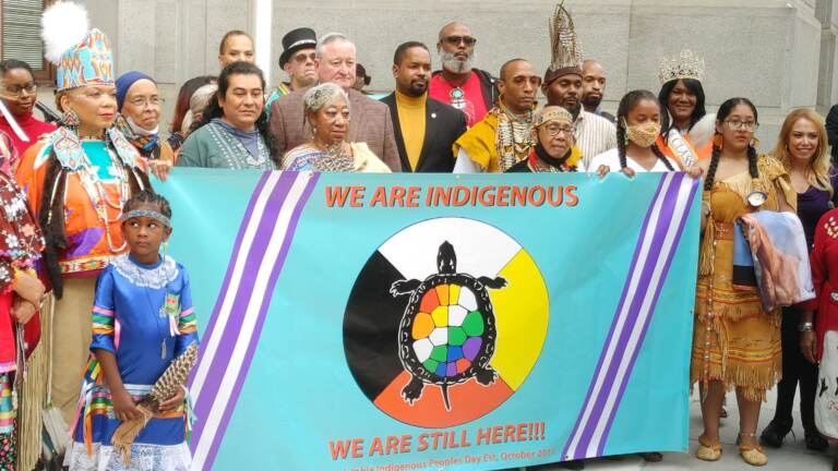Indigenous People's Day flag ceremony in Philadelphia on October 7, 2021. (Tom MacDonald/WHYY)