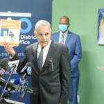 District Attorney Larry Krasner at the opening of the West/Southwest Collaborative Response to Gun Violence. (Tom MacDonald/WHYY News)