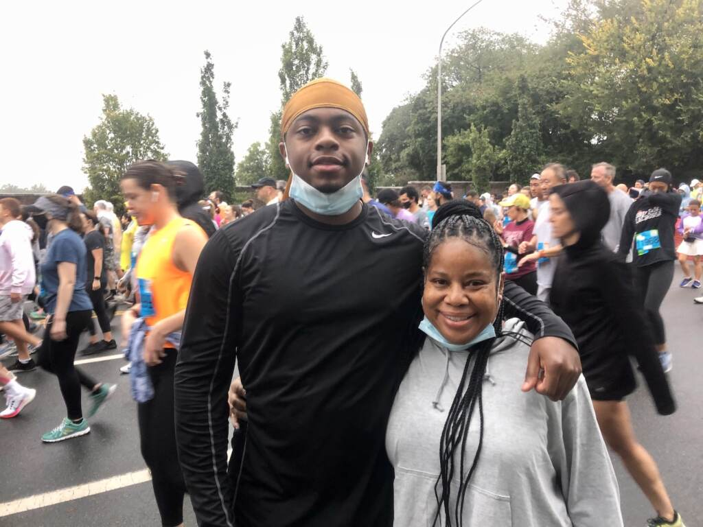 Aunt and nephew at the Broad Street Run