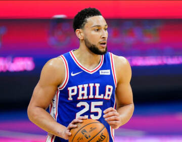 Philadelphia 76ers' Ben Simmons plays during an NBA basketball game against the Indiana Pacers, Monday, March 1, 2021, in Philadelphia. (AP Photo/Matt Slocum)