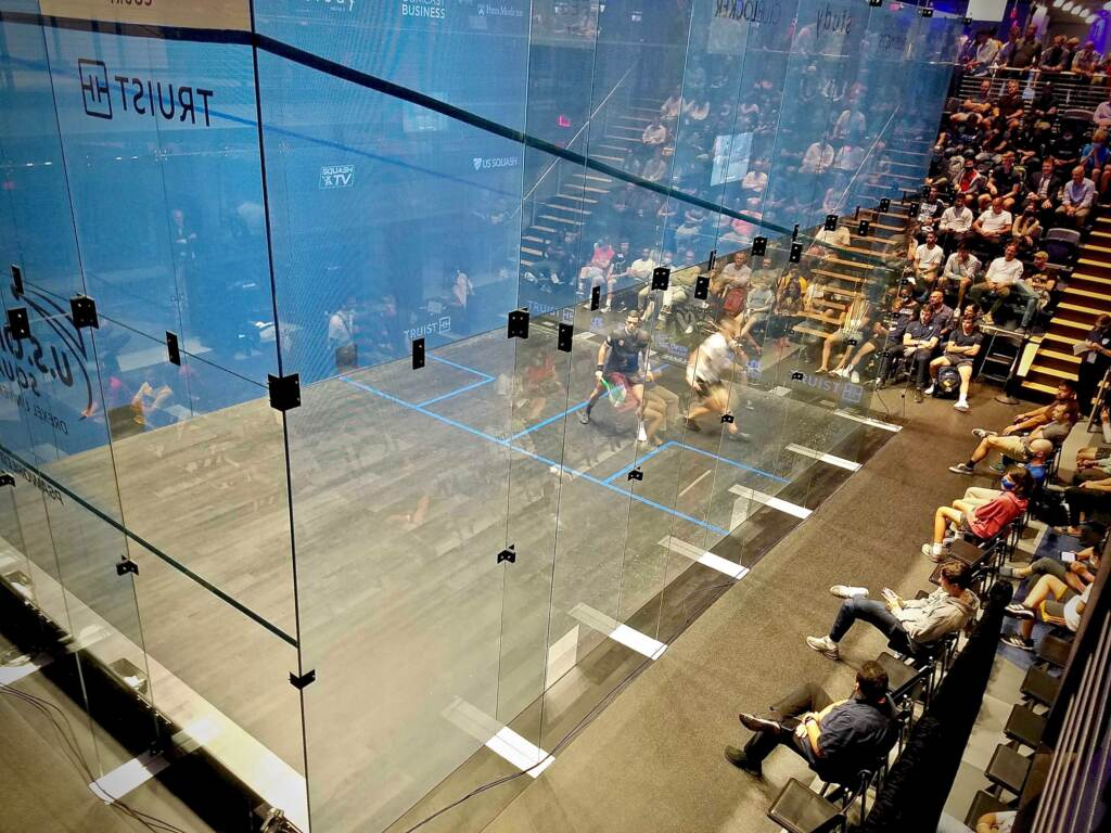 Glass competition courts are designed to optimize audience viewing, as well as television and live-streaming cameras