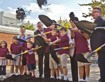 City officials, recreation leaders and students from the Our Lady of Port Richmond school, ceremonially broke ground at Glavin playground on Sept. 30, 2021.
