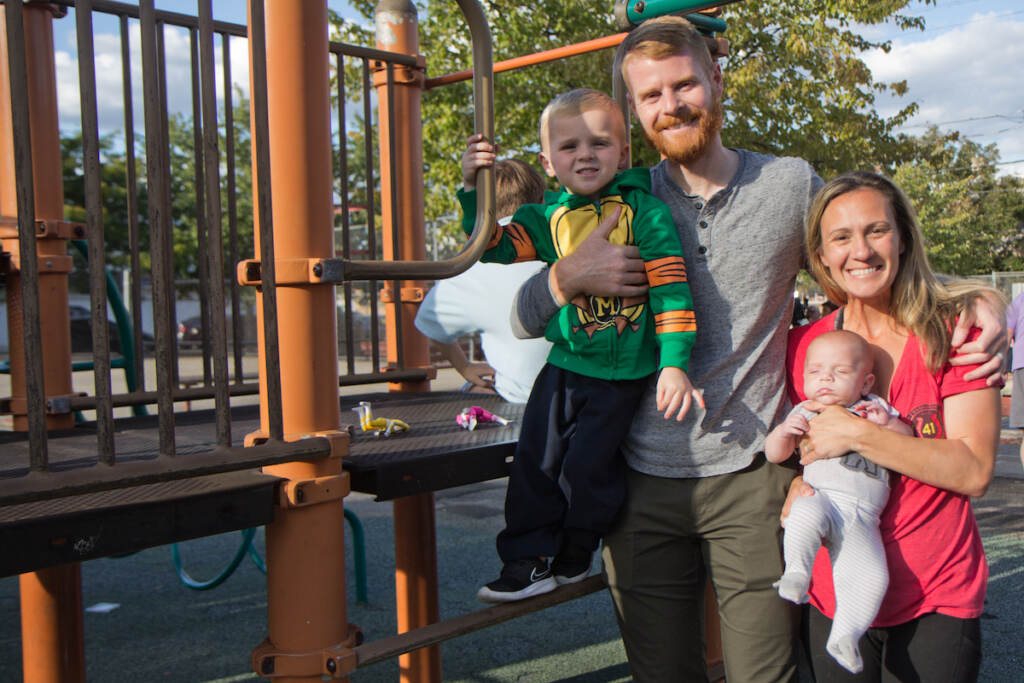 The Dugan family said they visit Glavin playground often, and Lacey Dugan (right) said she grew up as a Girl Scout, taking Karate courses and hanging with friends at the playground in Port Richmond
