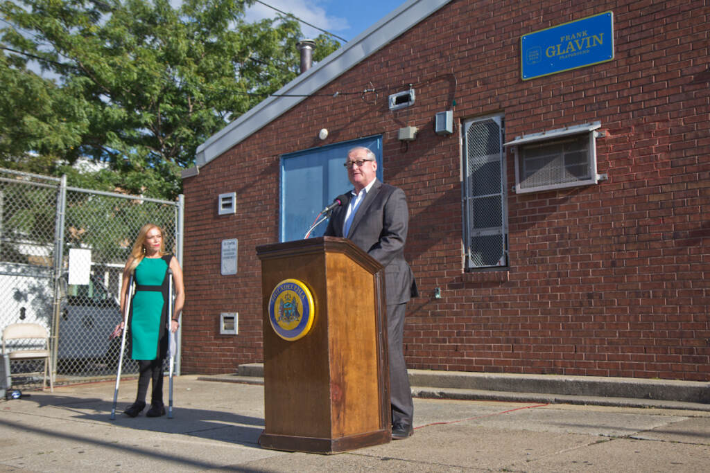 Philadelphia Mayor Jim Kenney speaks at a ceremonial groundbreaking at Glavin playground on Sept. 30, 2021.