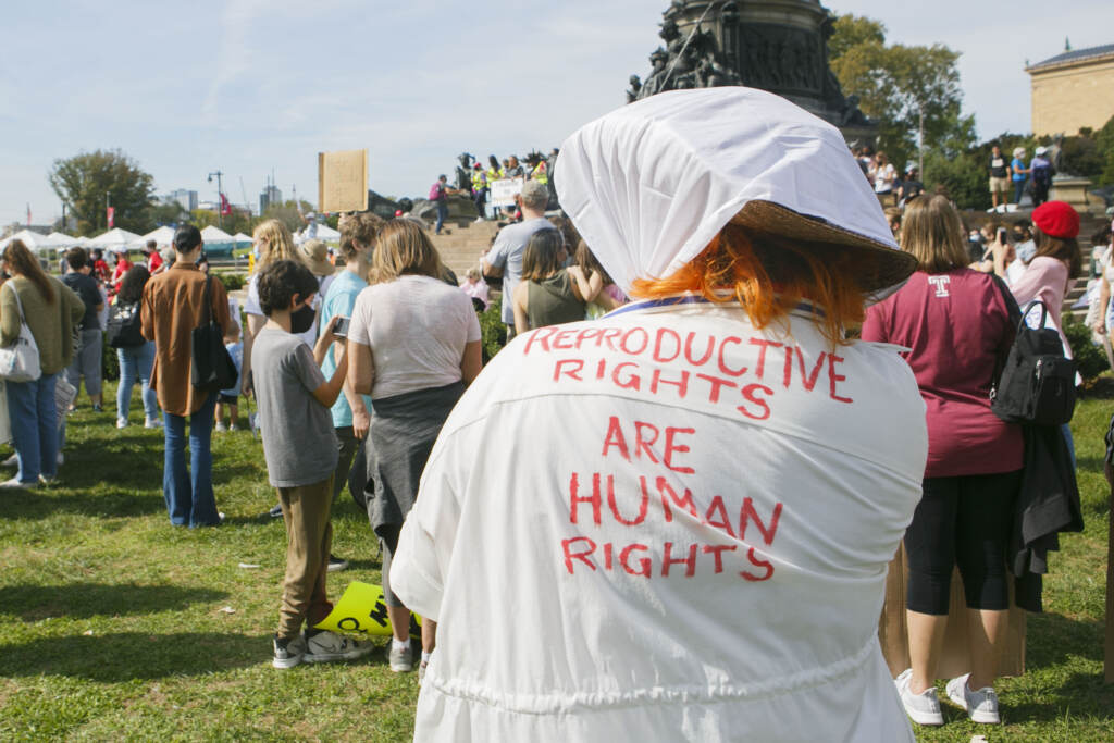 """A message written on a back of a shirt reads """"Reproductive rights are human rights"""" during an abortion rights rally held in Philadelphia, PA on Saturday, Oct. 2, 2021. Hundreds gather in Philadelphia as part of the """"Bans Off Our Bodies"""" marches that were held across the country today"""
