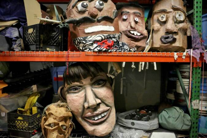 Spiral Q, the activist puppet troupe that provides props for parades and protests, lost 80 percent of its collection when a storage facility in Mont Clare, Pa. flooded. Here, surviving puppets are stacked on shelves in a borrowed space in West Philadelphia. The company is rebuilding its inventory with help from volunteers and donations