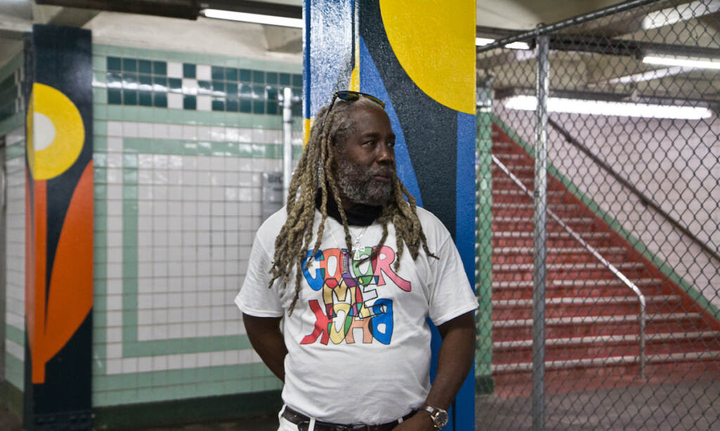 Alvin Tull is a Lead Muralist and Lead Teaching Artist with the Mural Arts Program in Philadelphia. He work with artist Lauren Cat West to create the Lovely Day mural, which covers 200 columns at the SEPTA concourse between City Hall and Walnut Streets