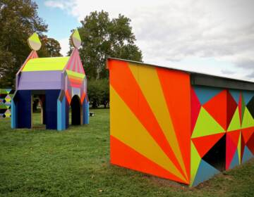 Structures with bright colors and bold geometric designs is the signature style of London-based artist Morag Myerscough