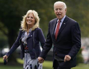 President Joe Biden and first lady Jill Biden arrive on the South Lawn