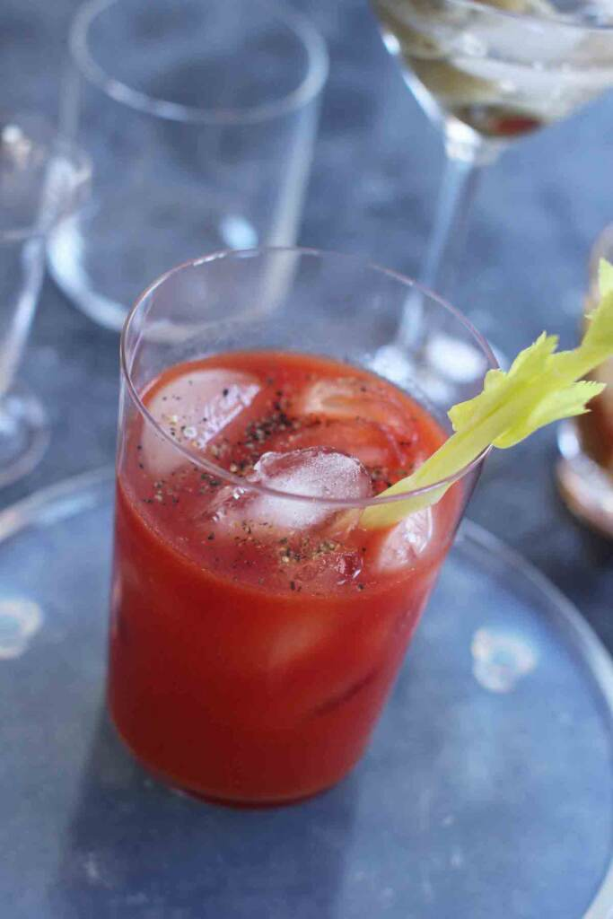 This March 23, 2015 photo shows a bloody mary mixed cocktail
