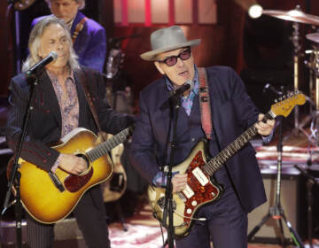 Elvis Costello and Jim Lauderdale, left, perform during at the Americana Honors & Awards show Wednesday, Sept. 11, 2019, in Nashville, Tenn.
