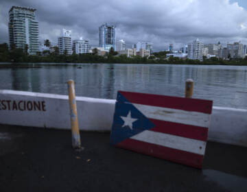 A wooden Puerto Rican flag lies on the shore of the Condado lagoon, where multiple selective blackouts have been recorded in the past days, in San Juan, Puerto Rico, Thursday, Sept. 30, 2021. Power outages across the island have surged in recent weeks, with some lasting up to several days. (AP Photo/Carlos Giusti)