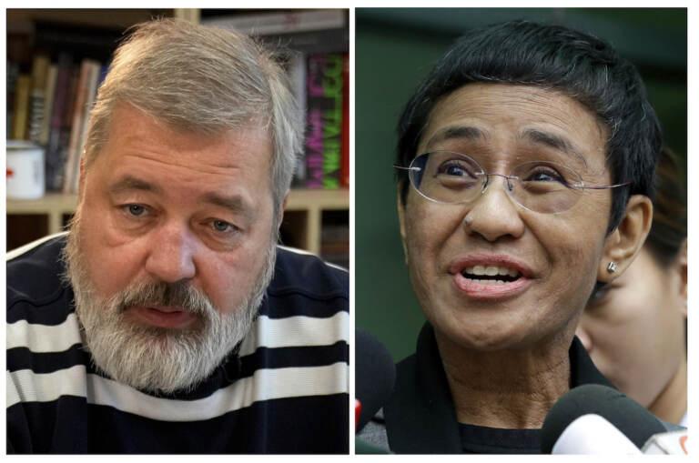 FILE - A combo of file images of Novaya Gazeta editor Dmitry Muratov, left, and of Rappler CEO and Executive Editor Maria Ressa
