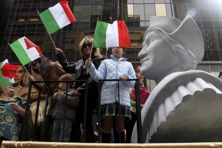 Monday, Oct. 11, 2021 federal holiday dedicated to Christopher Columbus continues to divide those who view the explorer as a representative of Italian Americans' history and those horrified by an annual tribute that ignores the native people whose lives and culture were forever changed by colonialism.(AP Photo/Seth Wenig, File)