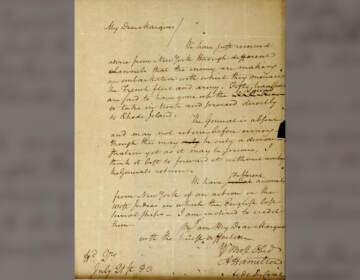 FILE - This image filed May 15, 2019, in federal court as part of a forfeiture complaint by the U.S. attorney's office in Boston shows a 1780 letter from Alexander Hamilton to the Marquis de Lafayette, that was stolen from the Massachusetts Archives decades ago.  The letter written by  Hamilton during the Revolutionary War and believed stolen decades ago from the Massachusetts state archives was returned Tuesday, Oct. 12, 2021, following a federal appeals court decision. (U.S. Attorney's Office via AP)