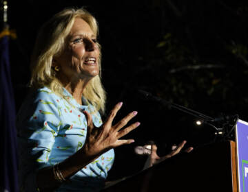 First lady Jill Biden gestures during a rally for Democratic gubernatorial candidate Terry McAuliffe in Richmond, Va., Friday, Oct. 15, 2021