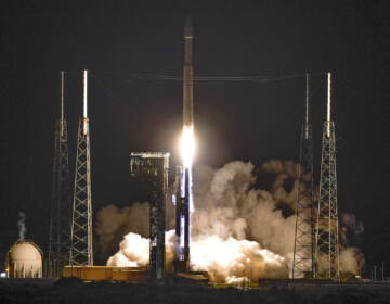 A United Launch Alliance Atlas V rocket carrying the LUCY spacecraft lifts off from Launch Complex 41 at the Cape Canaveral Space Force Station, Saturday, Oct. 16, 2021, in Cape Canaveral, Fla