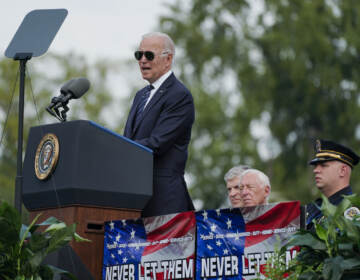 President Joe Biden speaks during a ceremony, honoring fallen law enforcement officers at the 40th annual National Peace Officers' Memorial Service at the U.S. Capitol in Washington, Saturday, Oct. 16, 2021