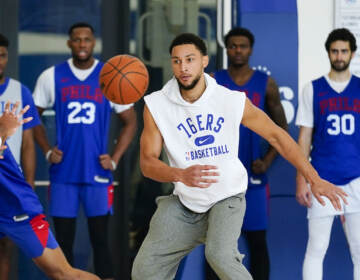 Philadelphia 76ers' Ben Simmons takes part in a practice at the NBA basketball team's facility, Monday, Oct. 18, 2021, in Camden, N.J.