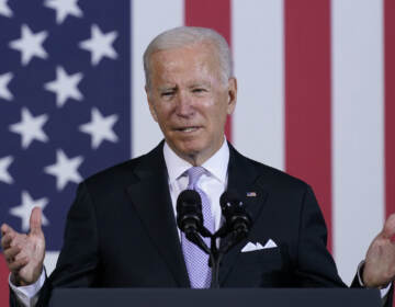President Joe Biden speaks about his infrastructure plan and his domestic agenda during a visit to the Electric City Trolley Museum in Scranton, Pa., Wednesday, Oct. 20, 2021