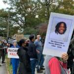 members of the public gathered for a vigil for Walter Wallace Jr. at the Germantown Unitarian Society in Philadelphia
