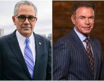 Philadelphia District Attorney Larry Krasner (left) and challenger Chuck Peruto