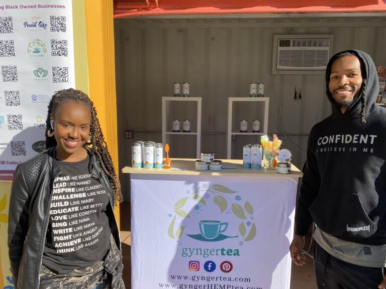 Felicia Harris-Williams and husband Craig Williams own Gynger Tea, one of the 50 vendors participating in the LOVE Park pop-up market. (Aaron Moselle/WHYY)