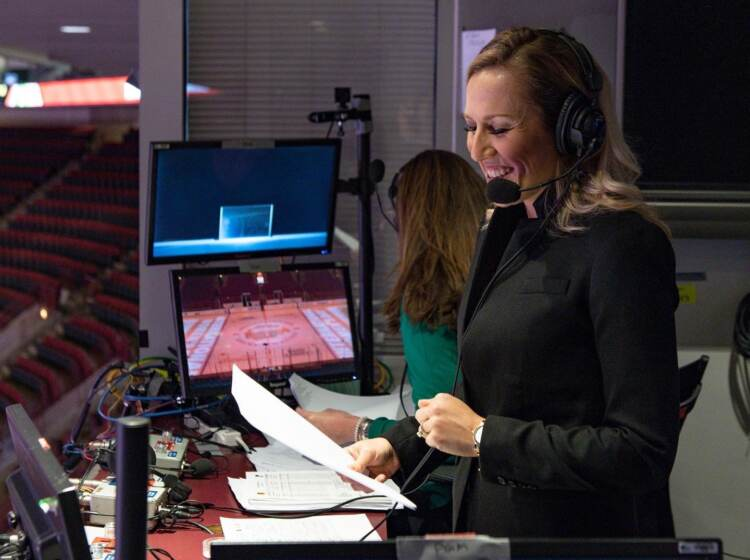 Kate Scott in the commentary booth