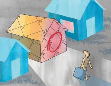 An illustration of houses, with someone being evicted