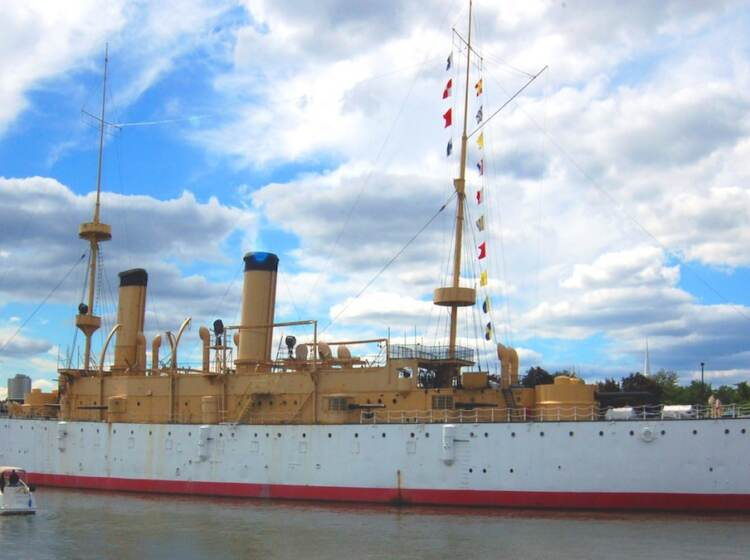 xThe USS Olympia on display as a museum ship on the Delaware River near Penn's Landing in Philadelphia. (Wikimedia Commons)