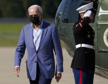 President Joe Biden arrives at Delaware Air National Guard Base in New Castle, Del., Saturday, Oct. 2, 2021. (AP Photo/Manuel Balce Ceneta)