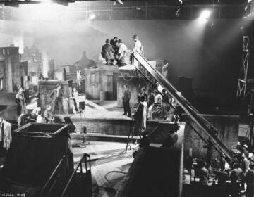 This is a general view of the set of a film in the making,
