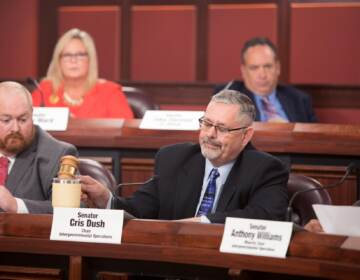 Pa. Sen. Cris Dush appears at a committee hearing