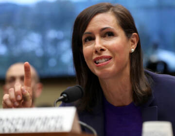 Jessica Rosenworce gestures during a hearing