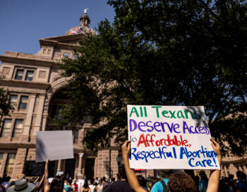 Abortion rights activists rally at the Texas State Capitol on Sept. 11 in Austin in opposition to a restrictive new abortion law. (Jordan Vonderhaar/Getty Images)