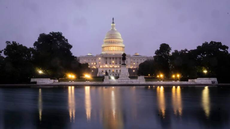WASHINGTON, DC - OCTOBER 06: A view of the U.S. Capitol at dawn on Wednesday morning October 6, 2021 in Washington, DC
