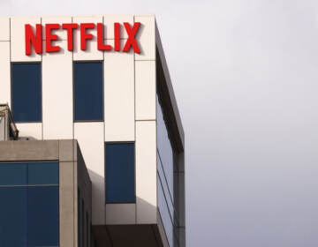 The Netflix logo is displayed at Netflix's Los Angeles headquarters