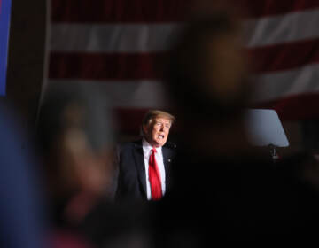 Former President Donald Trump speaks to supporters during a rally