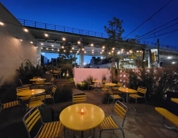 Outdoor dining is pictured at LMNO restaurant