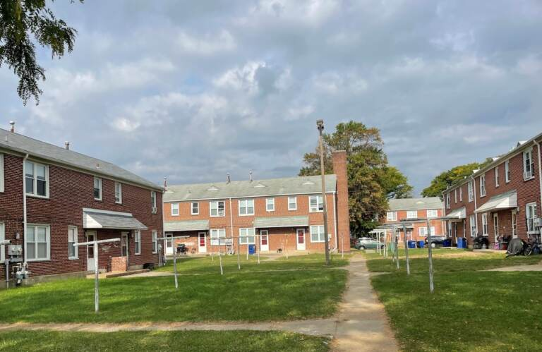 New homes will replace 70-year-old ones like this section of Riverside. (Cris Barrish/WHYY)