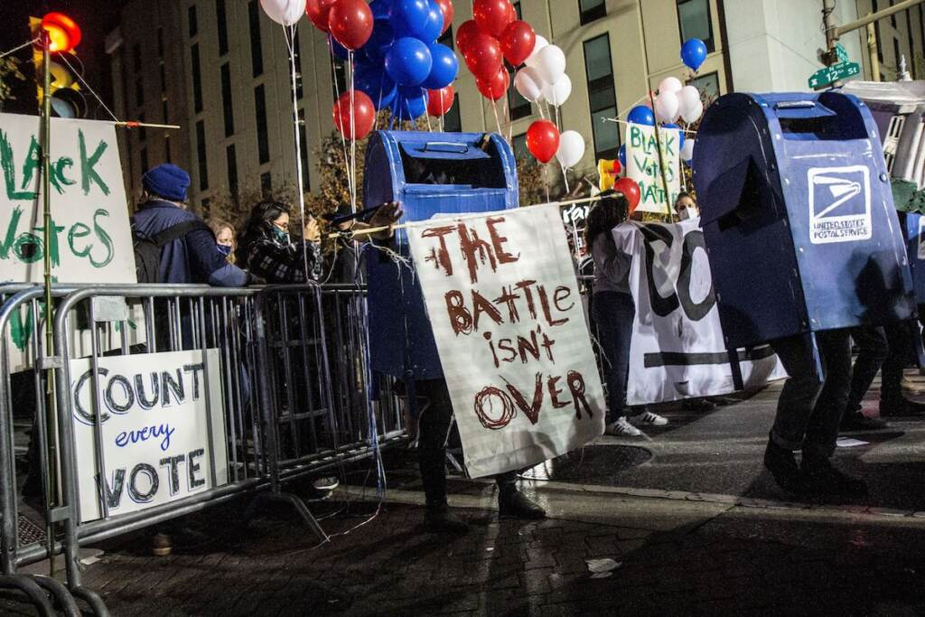 Dancing mail boxes were present at a rally in Philadelphia demanding the count of every vote in Pa