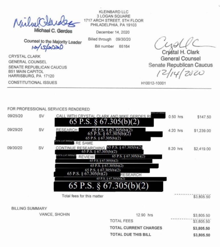 A screenshot of a legal invoice