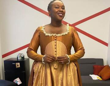 Ta'Rea Campbell is pictured in costume as Angelica Schuyler