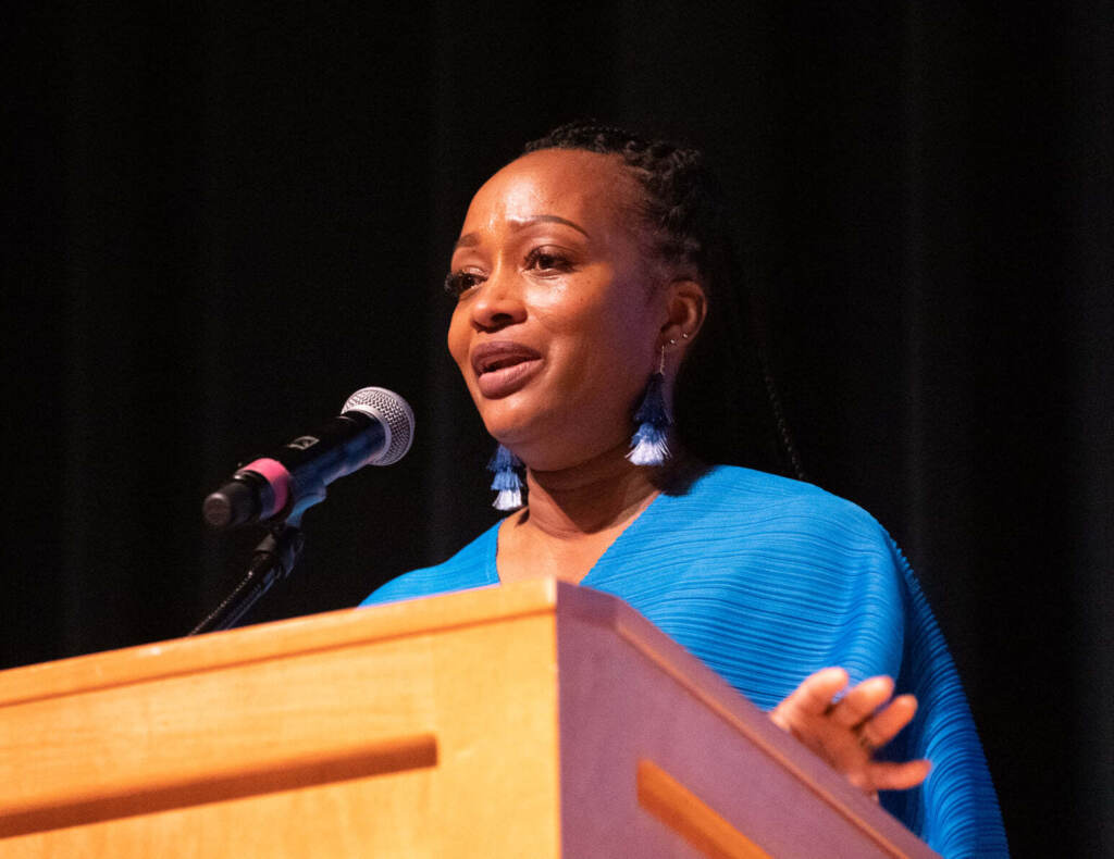 Brandywine School District special education teacher Jahsha Tabron speaks during Delaware's teacher of year ceremony in Dover Monday night