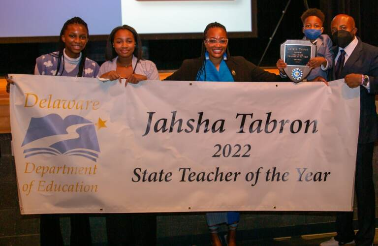 Brandywine School District special education teacher Jahsha Tabron was named Delaware's teacher of year during a ceremony in Dover Monday night
