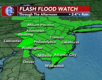 A weather map illustrates a Flood Warning in effect for the Philly region