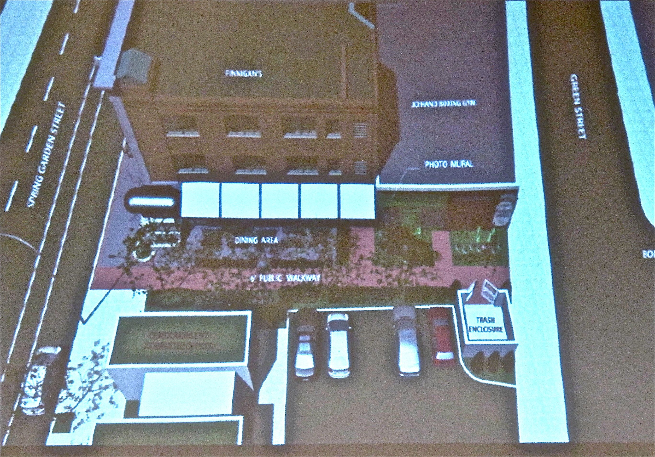 Planning recommends striking part of Bodine Street to add Finnegan's Wake patio, but says no to balconies over Spring Garden